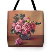 Roses In Glass Tote Bag