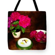 Roses In Vase And Bowl Tote Bag