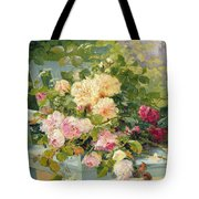 Roses On The Bench  Tote Bag