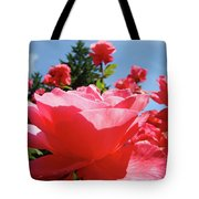 Roses Pink Rose Landscape Summer Blue Sky Art Prints Baslee Troutman Tote Bag
