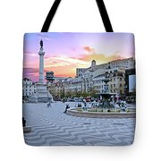 Rossio Square In Lisbon Portugal At Sunset Tote Bag