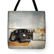 Rotary Dial Phone In Black S And H Stamps Tote Bag