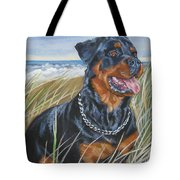 Rottweiler At The Beach Tote Bag