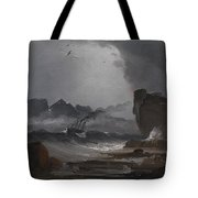 Rough Sea With A Steamer Near The Coast Of Norway Tote Bag