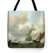 Rough Sea With Ships Tote Bag
