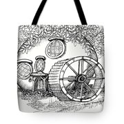 Round Fairy House And Waterwheet Tote Bag
