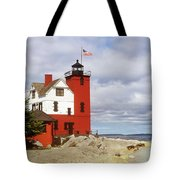Round Island Lighthouse Tote Bag by Sally Sperry