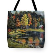 Round Pond Newbury Vermont Plein Air Tote Bag