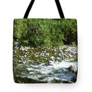 Rounded Rocks In A Rushing River Tote Bag