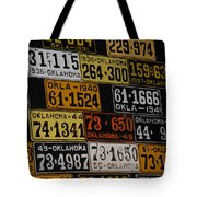 Route 66 Oklahoma Car Tags Tote Bag
