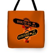 Route 66 Street Sign Stylized Colors Tote Bag