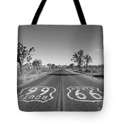 Route 66 With Joshua Trees In Black And White Tote Bag
