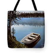 Row Boat In The Fog Tote Bag
