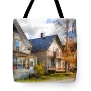 Row Of Houses Hardwick Vermont Watercolor Tote Bag