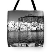 Rowboat Along An Idyllic Sicilian Village. Tote Bag