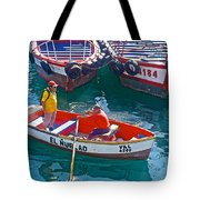 Rowboat In The Harbor At Port Of Valpaparaiso-chile Tote Bag