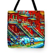 Rowhouses And Hockey Tote Bag