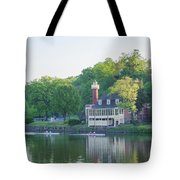 Rowing Along The Schuylkill River In Philadelphia Tote Bag