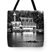 Rowing Past Turtle Rock Light House In Black And White Tote Bag