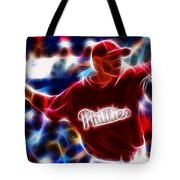 Roy Halladay Magic Baseball Tote Bag by Paul Van Scott