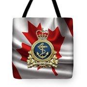 Royal Canadian Navy  -  R C N  Badge Over Canadian Flag Tote Bag