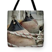 Rubber Fenders On The Side Of The Motor Yacht Tote Bag