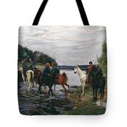 Rubicon. Crossing The River By Denis Davydov Squadron. 1812. Tote Bag