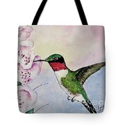 Ruby-throated Hummingbird With Foxgloves Tote Bag
