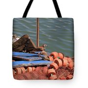 Ruddy Turnstones Perching On Fishing Nets Tote Bag