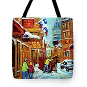 Rue St Paul Montreal Streetscene Cafes And Caleche Tote Bag