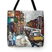 Achetez Les Petits Formats Scenes De Montreal St Viateur Bagel And Cola Truck Buy Montreal Painting  Tote Bag
