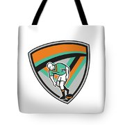 Rugby League Player Playing Ball Shield Retro Tote Bag