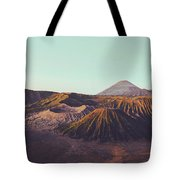 Rugged Mountainous Terrain Mount Bromo At Sunrise Tote Bag