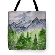 Ruidoso Nm Southwestern Mountain Landscape Watercolor Painting Poster Print Tote Bag