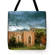Ruins Under Stormy Clouds Tote Bag