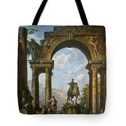 Ruins With The Statue Of Marcus Aurelius Giovanni Paolo Panini Tote Bag