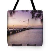 Rum Point Beach Chairs At Dusk Tote Bag