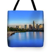 Runners, Joggers And Bikers Take An Early Morning Stroll On The The Boardwalk Trail Tote Bag
