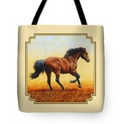 Running Horse - Evening Fire Tote Bag by Crista Forest