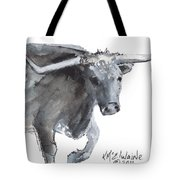 Running Texas Longhorn Watercolor Painting By Kmcelwaine Tote Bag
