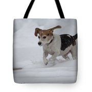 Running Through The Snow Tote Bag