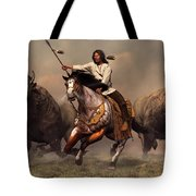 Running With Buffalo Tote Bag by Daniel Eskridge