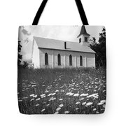 Rural Church In Field Of Daisies Tote Bag