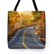 Rural Road Running Along The Maple Trees In Autumn 2 Tote Bag