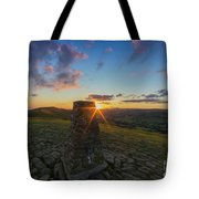 Rushup Edge From Mam Tor Summit Sunset Tote Bag