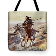 Russell Charles Marion Indian With Spear Tote Bag