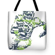 Russell Wilson Seattle Seahawks Pixel Art 12 Tote Bag