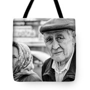 Russian Pensioners Looking At Camera Tote Bag
