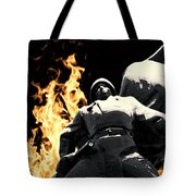 Russian Soldier Statue In Snow And Fire Tote Bag