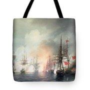 Russian Turkish Sea Battle Of Sinop Tote Bag by Ivan Konstantinovich Aivazovsky